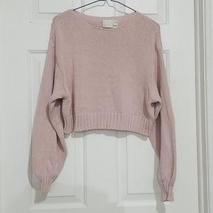 Aritzia Wilfred Free Pink Knit Crop Sweater